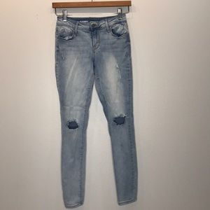 OLD NAVY Distressed Rock Star Light Wash Jeans 0